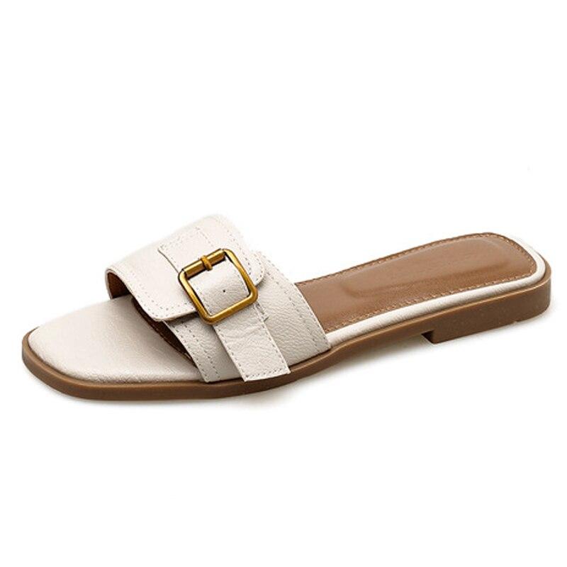 Женские шлепанцы большого размера; брендовые кожаные шлепанцы с металлической пряжкой; обувь на низком толстом каблуке; шлепанцы на плоской подошве; женские уличные тапочки|Тапочки|   | АлиЭкспресс