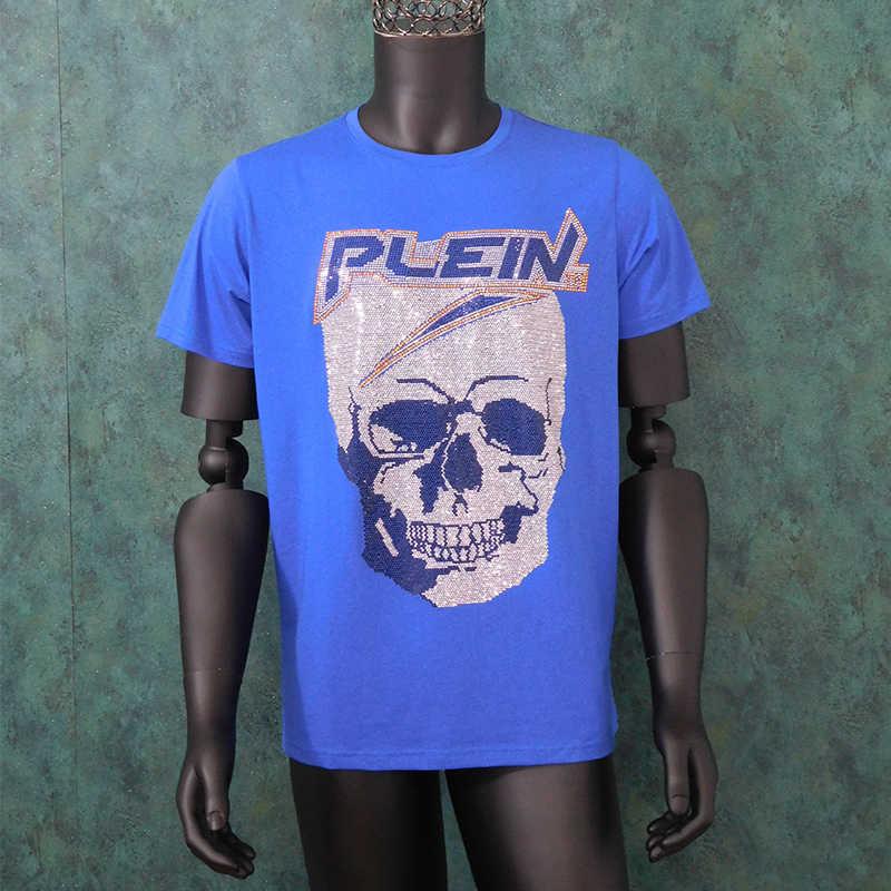2020 New Arrival błyszczące kryształy diamentowe koszulki z krótkim rękawem codzienna koszulka dla mężczyzn czaszki Tshirt bawełniana koszulka lato topy Tees