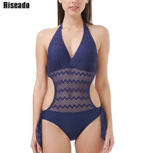 Riseado Sexy Plunging monokini One Piece Swimsuits Women Hollow Out Swimwear 2020 Halter Beach Wear Lace Bathing Suits