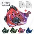 Наружная велосипедная маска Пылезащитная защита от загрязнения выхлопных газов PM2.5 с 2 клапанами 2 фильтра для пыленепроницаемой спортивно...