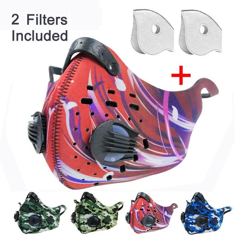 หน้ากากขี่จักรยานกลางแจ้งป้องกันฝุ่นมลพิษแก๊สไอเสีย PM2.5 2 วาล์ว 2 ตัวกรองสำหรับฝุ่นวิ่งกีฬา...