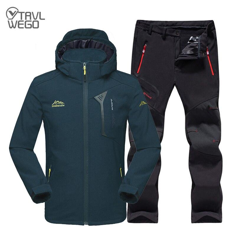 TRVLWEGO Men Winter Outdoor Jackets&Pants Fishing Thermal Sets Lightweight Waterproof Jackets Fishing Hiking Climbing Softshell