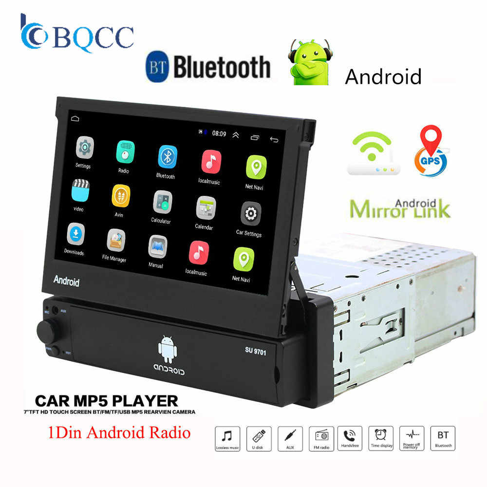 Retractable Android 8.1 Car Radio GPS Wifi Autoradio 1 Din MP5 7 ''Inch HD Touch Screen Multimedia Player Support Camera