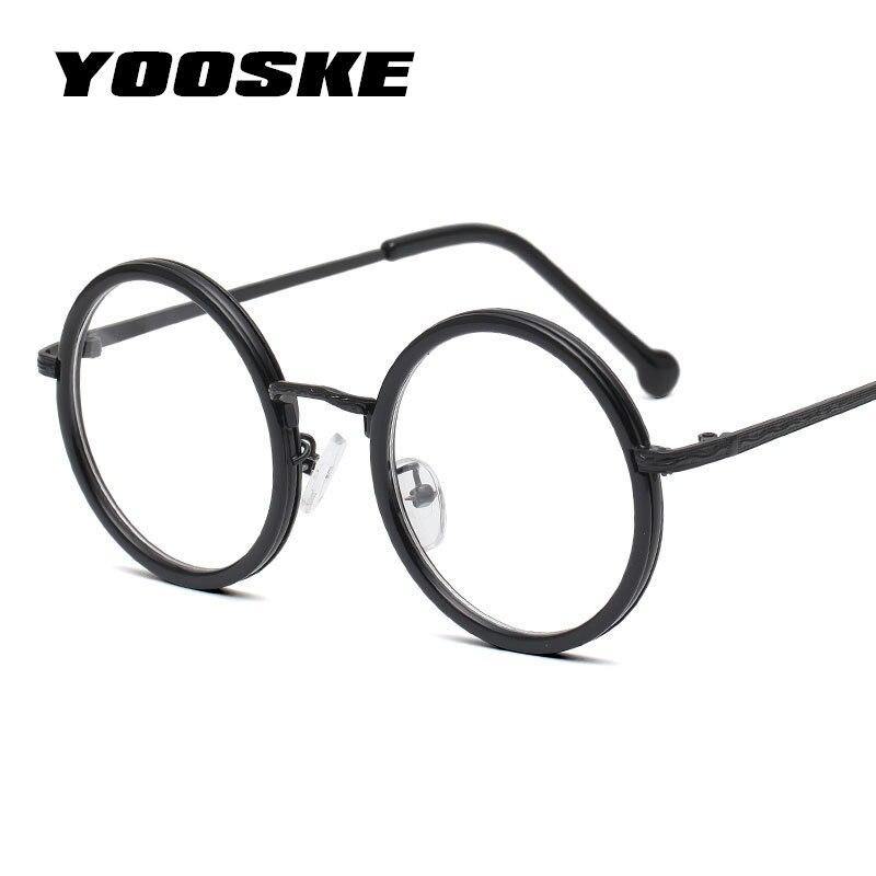 YOOSKE Retro Round Glasses Frame Women Clear Lens Myopia Eyeglasses Frames Men Transparent Optical Prescription Eye Glasses