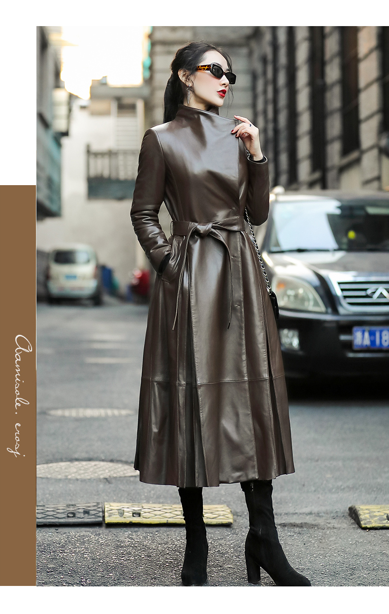 Classy Long Leather Coat