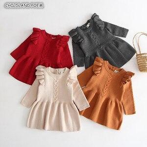 Malha bebê roupas, de malha bebê recém-nascido outono inverno menina vestido plissado bebê vestido de algodão da criança meninas vestido crianças vestidos para meninas