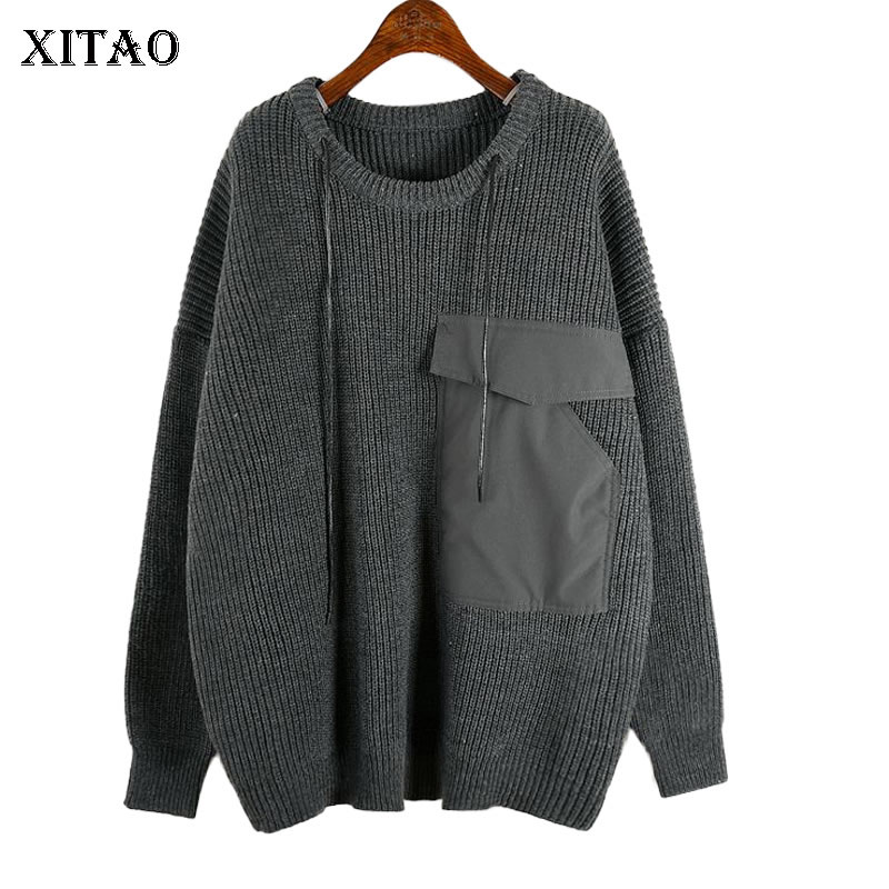 XITAO Knitted Pullover Sweater Fashion New 2019 Winter Pocket Drawstring Minority Casual Full Sleeve Minority Sweater ZLL4582