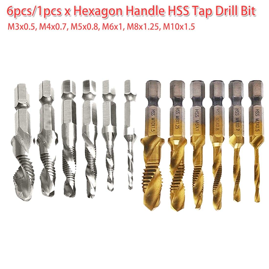 "6PCs Quick Change Titanium Coated Drill Bit Set 1//4/"" Hex Shank Spiral Tap M3-M10"