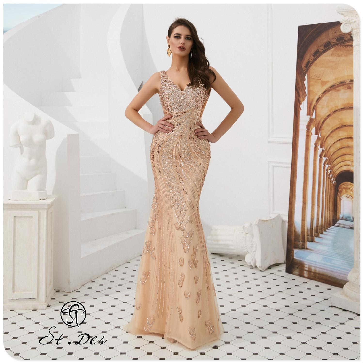 NEW Arrival 2020 St.Des Mermaid V-Neck Russian Champagne Sequins Designer Floor Length Evening Dress Party Dress Party Gown