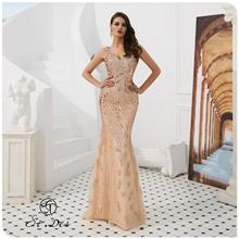 NEW Arrival 2020 St.Des Mermaid V-Neck Russian Champagne Sequins Designer Floor Length Evening Dress Party Gown