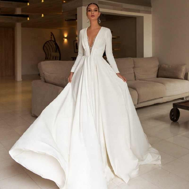 Alilove A Line/V Neck/Stain/White/Simple/New/Style/Backless/Big Size/Pregnant/Bride Wedding Dress With Sleeves/Lace/Women/Luxury