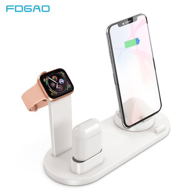 Support de Station de chargement FDGAO support de support pour iPhone 11 Pro X XR XS MAX 8 7 6S pour Apple Watch Series Airpods chargeur USB