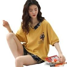 女性のパジャマセットプラスサイズファム寝間着カジュアルホームウェア部屋着綿パジャマ漫画oネックパジャマM XXL