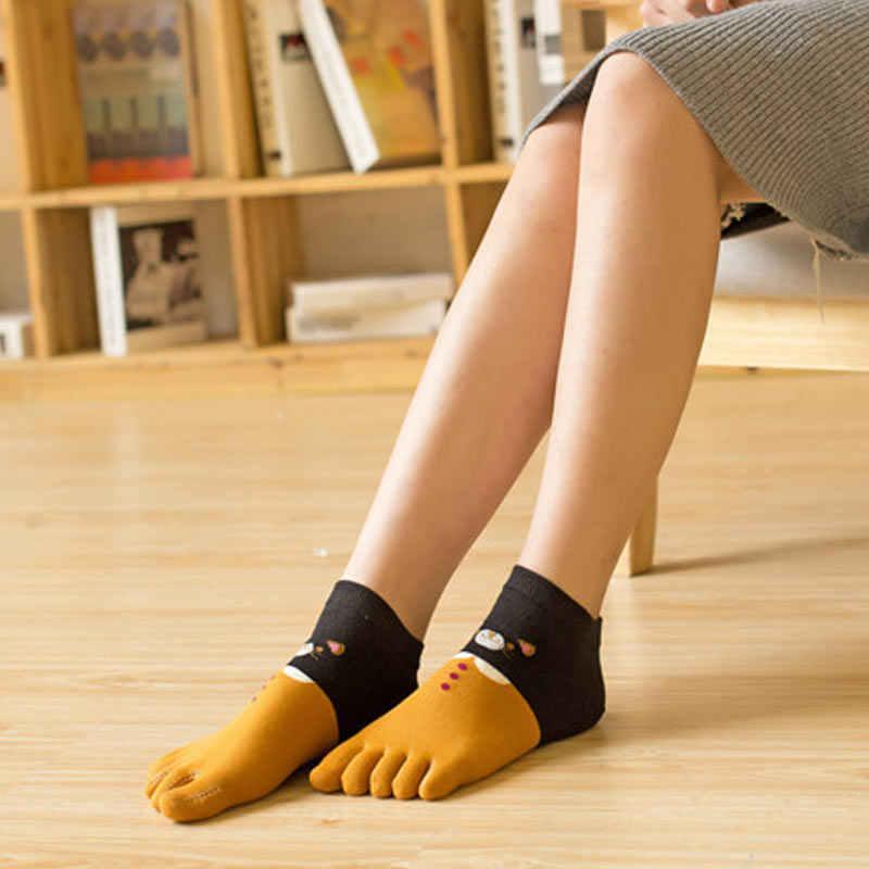 新 1 ペア女性女の子ソフト漫画猫靴下 5 指つま先綿秋冬暖かい靴下 IR ing