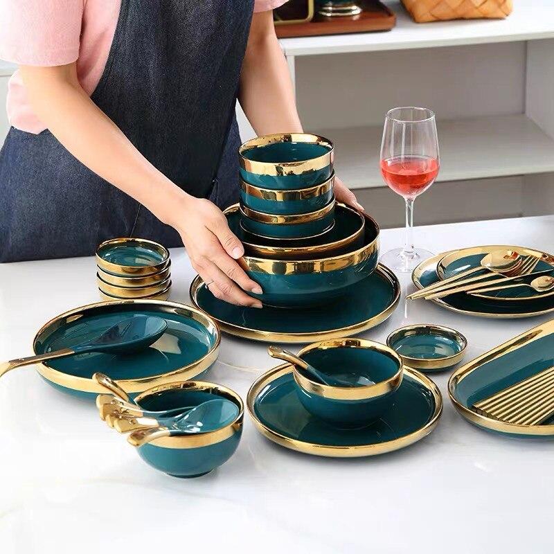Ensemble d'assiettes à dîner en céramique | De luxe européen soucoupe aromatisée or Phnom Penh assiette de logement profonde 8/10 pouces cuillère à soupe - 2