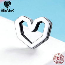 BISAER 100%Real 925 Sterling Silver Clear Love Heart Shape CZ Pendant Bracelet Bangle For Lover Valentine's Day Gift HSX102 bisaer 100%real 925 sterling silver rose gold color heart apple sakura shape pendant necklace for women fashion gift hsn313