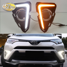1 Set 12V ABS Car LED DRL For Toyota RAV4 2016 2017 2018 Daytime Running Light Led Fog Lamp Cover With Trunning Yellow Signal цена 2017
