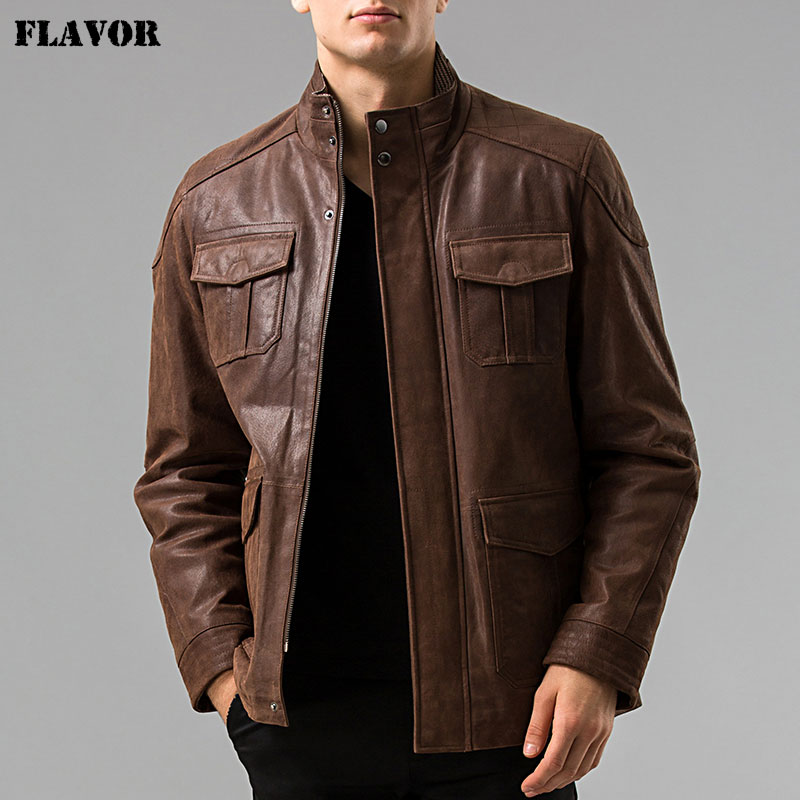 S-6XL Men's Genuine Leather Jacket Pigskin Real Leather Jackets Men Pig Leather Coat Motorcycle Jacket
