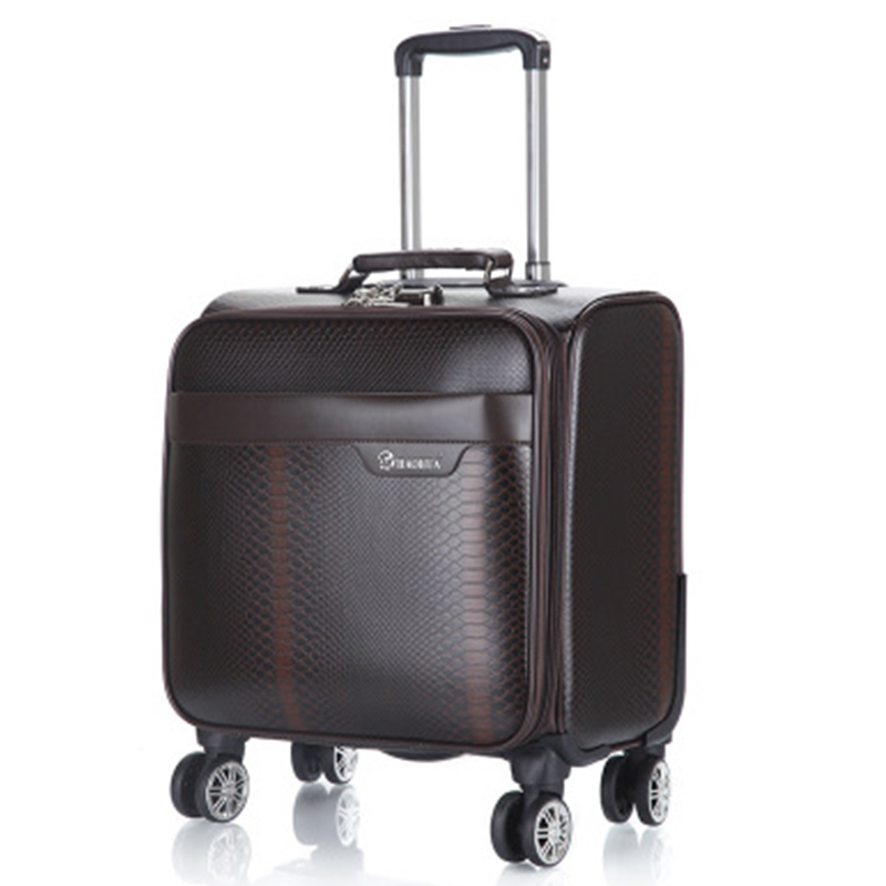 100% PU Leather Rolling Spinner Luggage Bag Men Business Suitcase Wheels 18 Inch Carry On Travel Bags Laptop Woman Trolley Case