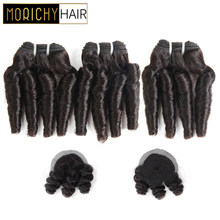 Morichy Hair Bouncy Curly Bundles With Crown Closure Brazilian Double Drawn Short-cut Weft Non-Remy Black Human Hair For Women(China)