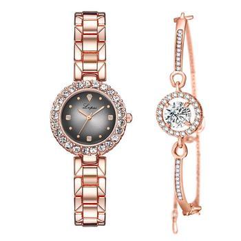 Rose Gold Ladies Quartz Watch 2019 New Design Jewelry Bracelet Watch Set Women luxury Crystal Dial Elegant Gift For Girl relogio