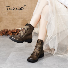 Tastabo Genuine Leather ladies ankle boots Martin boots Brown Black S88901 Low heel wear bottom daily Womens boots Retro Style