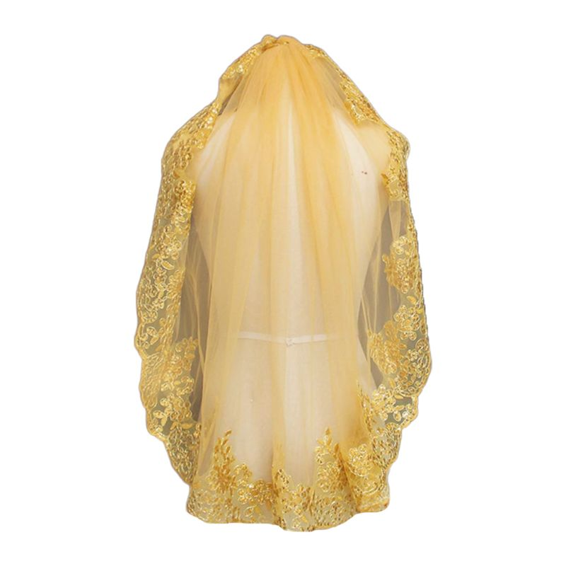 Women Soft Mesh Metallic Gold Sequins Embroidered Lace Vintage Mantilla Wedding Veil Head Covering With Comb Party Costume