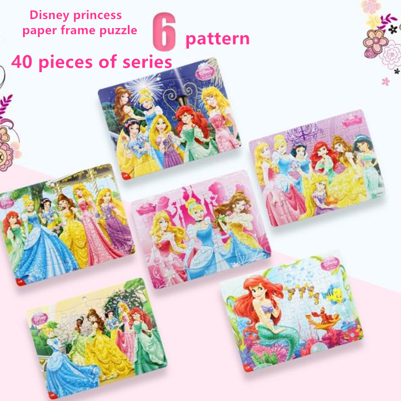 Disney Princess/ice Snow Princess Framed 40 Piece Puzzle Learning Educational Interesting Paper Toys For Children Gift