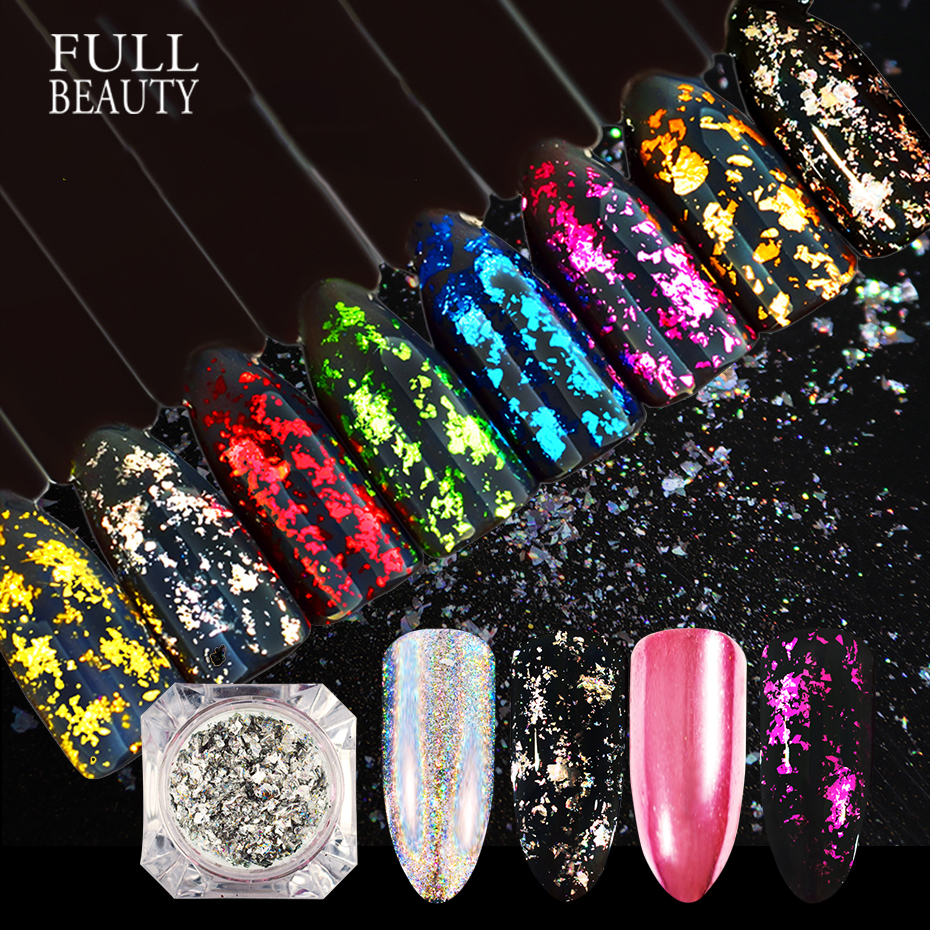 Magic Mirror Aluminum Nail Glitter Holographic Irregular Sequin Nail Art Silver Red Nail Decoration Pigment Manicure CHCB01-08