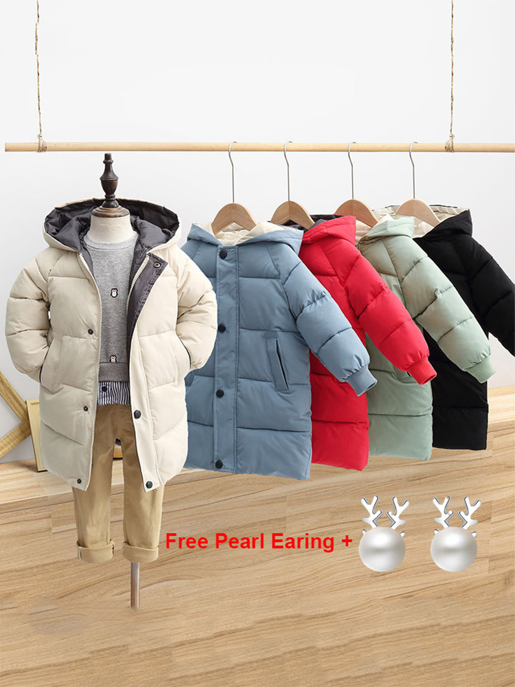Down-Coat Parka Kids Outerwear Long-Jackets Cotton-Padded Teenage Toddler Warm Baby-Boys-Girls