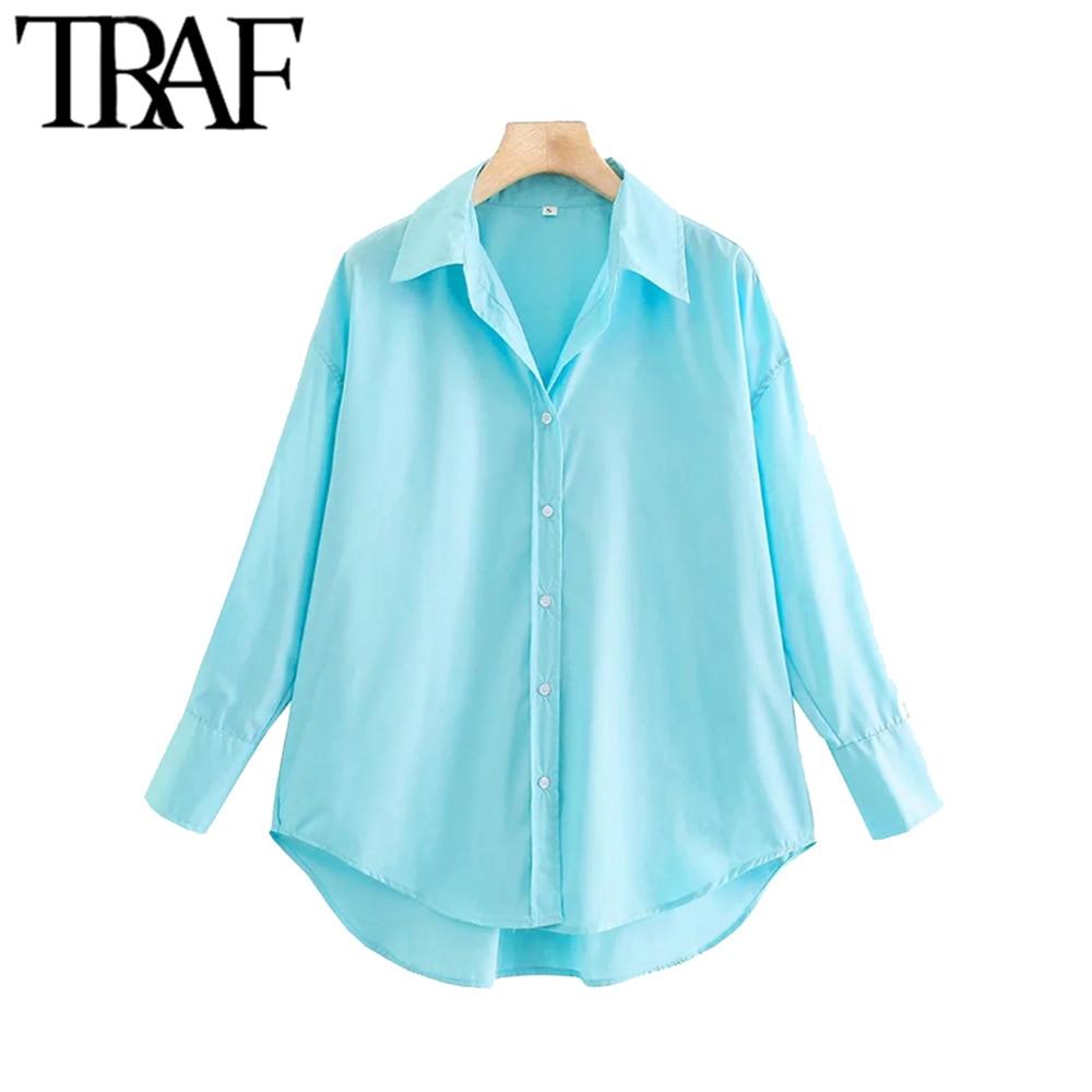 TRAF Women Fashion Loose Asymmetry Poplin Blouses Vintage Long Sleeve Button-up Female Shirts Blusas Chic Tops 6