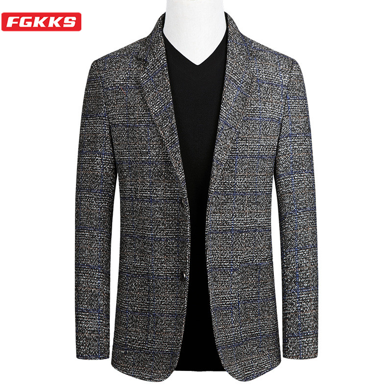 FGKKS Brand Men Fashion Blazers Spring Autumn New Men's Slim Fit Wild Suit Jacket Single Breasted Business Casual Blazer Male