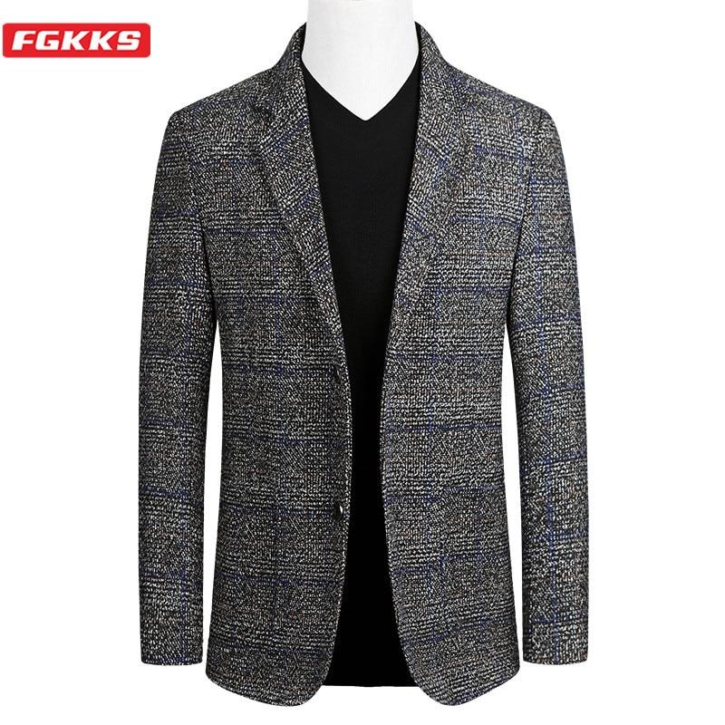 FGKKS Brand Men Fashion Blazers Spring Autumn New Men's Slim Fit Wild Suit Jacket Single Breasted Business Casual Blazer Male