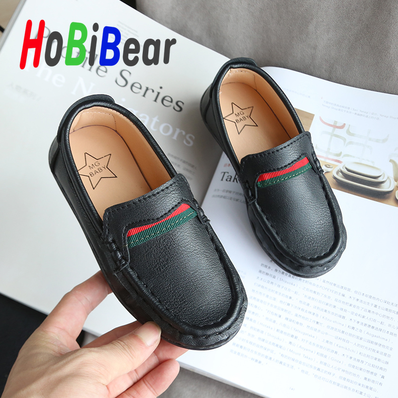 New Trend Boy Loafers Shoes Kids Flats Leather Casual Shoes Black Children Casual Slip On Shoes Designer Spring Kids Moccasins