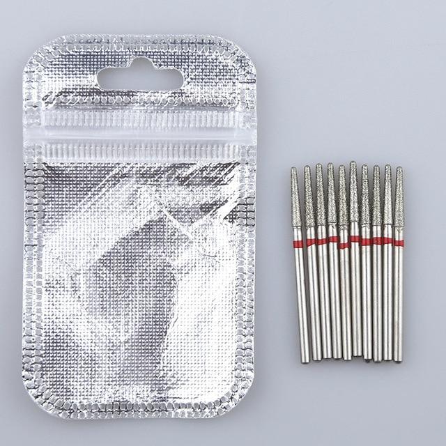 10PCS Diamond Cutter for Manicure Set Diamond Rotary Burrs Set Nail Drill Bit Set Milling Cutter for Nail Art Pedicure Tool 5