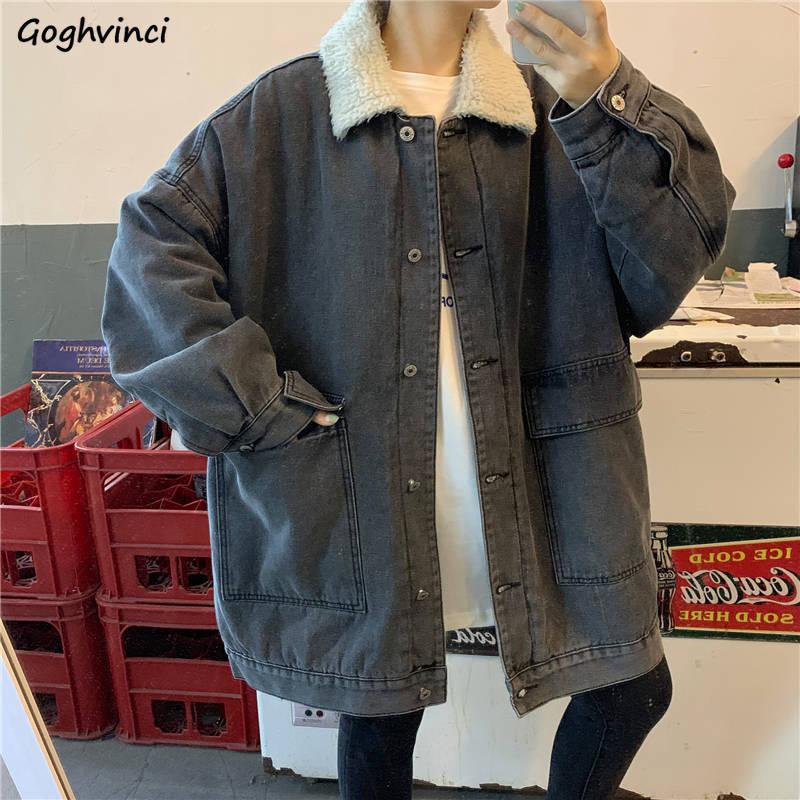 Jackets   Women Velvet Thickening Warm Winter Leisure Simple   Basic   Classic Denim All-match Korean Style Womens Student Fashionable