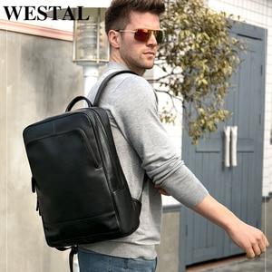 Image 1 - WESTAL 100% Genuine Leather Mens Backpack men Male Business bag schoolbag man fashion mens backpacks for male Leather 8110