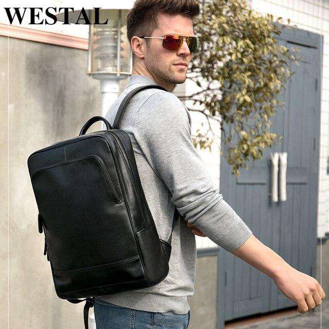 WESTAL 100% Genuine Leather Mens Backpack men Male Business bag schoolbag man fashion mens backpacks for male Leather 8110