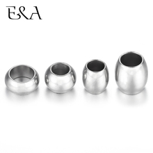 Stainless Steel Spacer Position Beads Large Hole Slider Charms Leather Bracelet Jewelry Making DIY Supplies Accessories Findings