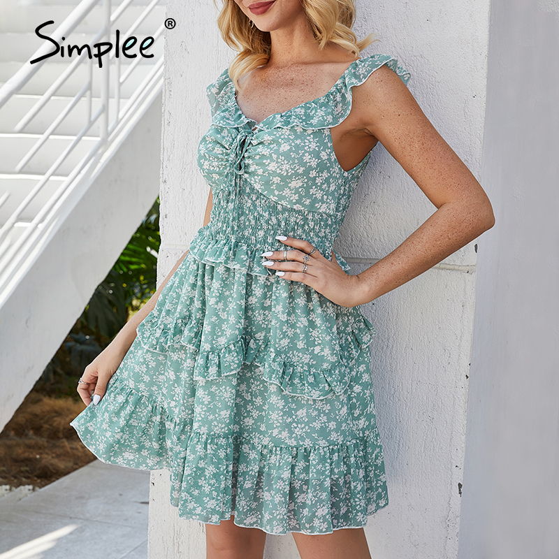 Simplee Sexy V-neck Women Dress Boho Floral Print High Waist Summer Dress Ladies Sleeveless Ruffled Sundress Beach Dress 2020