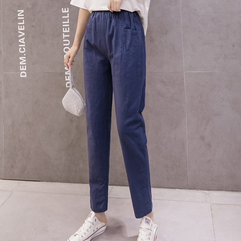 Cotton Linen Ankle Length Trousers Spring Summer 2020 Thin Loose Casual Pants Women's Harem Pants Breathable Cotton Pencil Pant