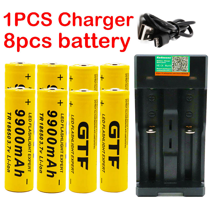 New 18650 battery 3.7V 9900mAh rechargeable lion battery for Led flash light battery 18650 battery Wholesale + USB charger|  - title=
