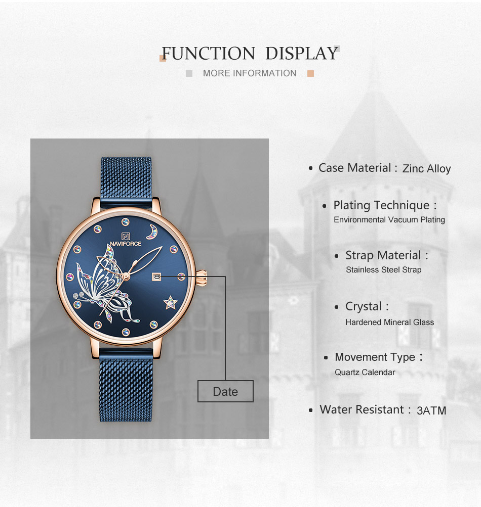 H04e331a4014c45bc8379a24ed28c22d5l - NAVIFORCE Luxury Brand Watch Women Fashion Dress Quartz Ladies Mesh Stainless Steel 3ATM Waterproof Casual Watches for Girl