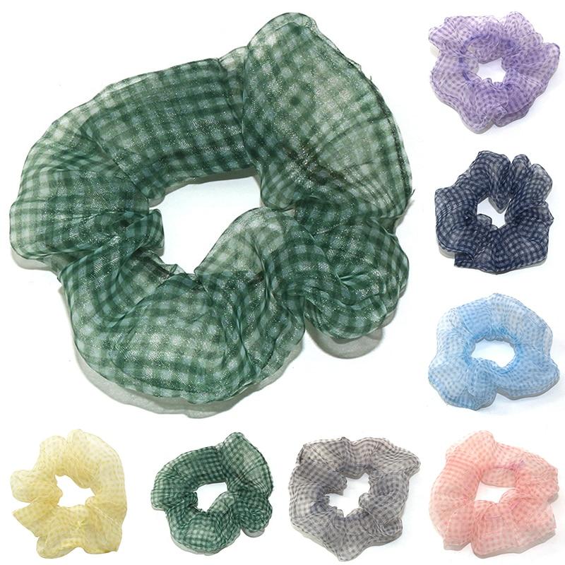 Organza Soft Elastic Hair Bands Scrunchie Sweet Chiffon Hair Ties Elastic Ponytail Yellow Green Pink Thin Hair Rope Headwear Hot