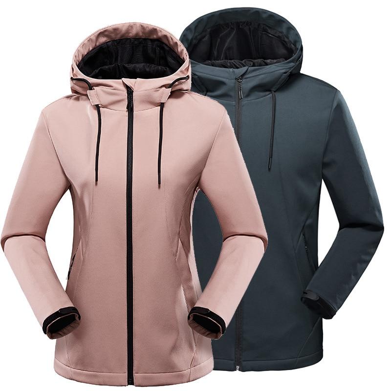 Outdoor Fleece Soft Shell Jacket Autumn Winter Men Women Windproof Waterproof Warm Hooded Coat Couple Camping Hiking Windbreaker