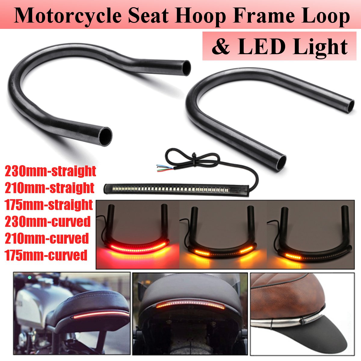 Black Motorcycle Steel Rear Frame Hoop Brat Seat Loop With Turn Signal Light Led for Cafe Racer 230MM Tubing