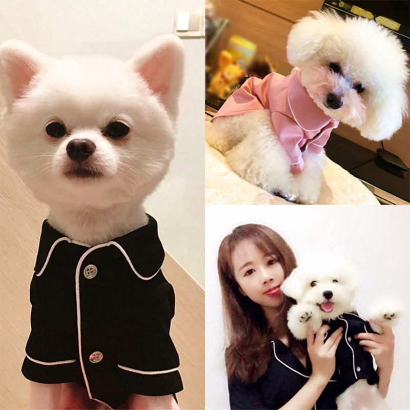 Dog Shirt Pet Dog Clothes Cotton French Pajamas Suitable For Small And Medium Dog Cats 2-legged Button Pink Black Pet Pajamas