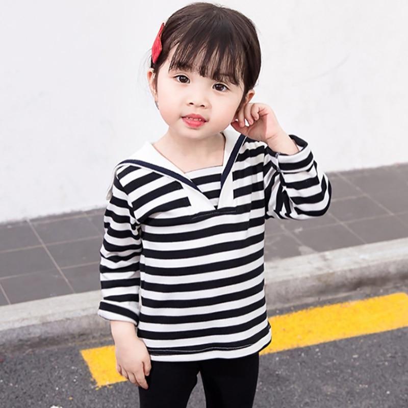 T-Shirt Cartoon Long-Sleeved Print Toddler Baby-Girl Autumn Stripes Cotton Children New