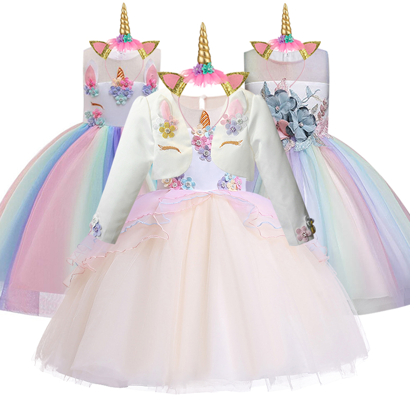 New Unicorn Dress for Girls Embroidery Ball Gown Baby Girl Princess Birthday Dresses