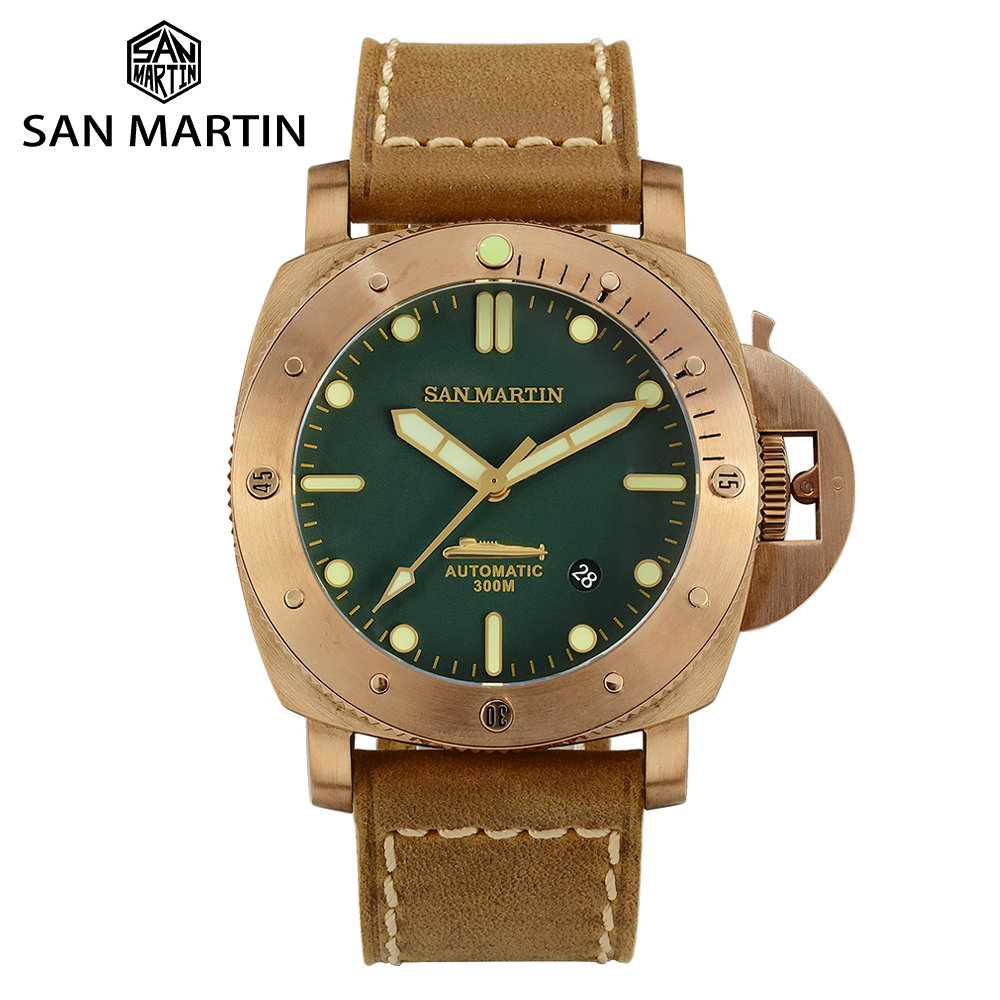 San Martin Retro Diver Tin Bronze Limited Edition Automatic Mechanical Men Watch Sapphire Stitching Cowhide Strap Luminous